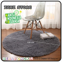 karpet bulu bulat dimensi 100 cm
