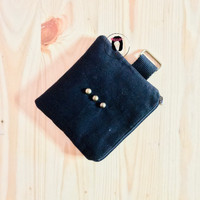 Handmade Pitched Black Canvas Mini Coin Purse Dompet Koin