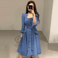 ONNIEFASHION Dress Karlin Casual Outfit Gaya Korea Dress Wanita - DENIM TUA