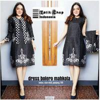 Dress Bolero Mahkota Batik Truntum Abu Modern Dress Kerja Pesta Rompi
