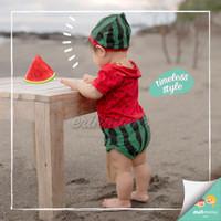 jumper bayi semangka / baby jumpsuit watermelon ermon - 0-6 Bulan