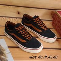 sepatu vans old skool hitam strip coklat import quality