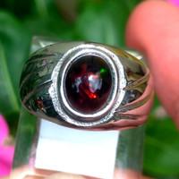 Cincin Batu Mulia Kalimaya Black Opal Berjarong Ring Tanam Titanium