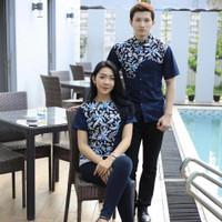 Kemeja Baju Batik Semi Sutra Pria Wanita Couple Pasangan Keluarga Navy - S, Wanita