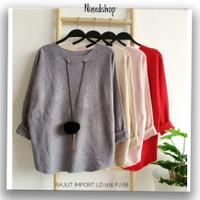 Kaos Casual Baju Rajut Import Wanita / Fashion Baju Cewek Terbaru