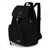TR5 Tas Ransel Backpack Wanita Kanvas sekolah slingbag sling bag cewek - All New Black