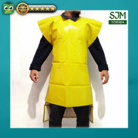 Apron Celemek Bahan Sponlak PVC 2 Sisi Kuning Anti Air