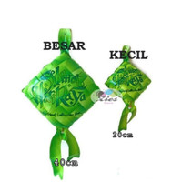 balon foil ketupat idul fitri / balon bentuk ketupat lebaran (20cm)