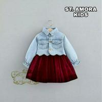 setelan baju anak perempuan amora usia 2 3 4 tahun 3 in 1