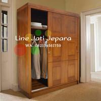 Lemari rak pakaian minimalis sliding pintu 3 kayu jati jepara