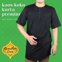 Baju Muslim/ Kurta Kaos Polos Premium/ Baju Koko Pria Lengan Pendek
