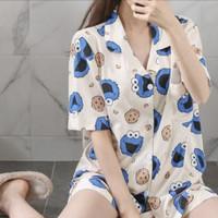 Piyama Baju Tidur Wanita Import Krah Kancing Lengan Pendek 7002