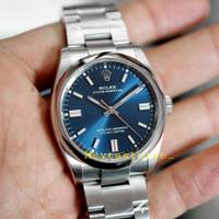 Jam Tangan Pria Rolex Oyster Perpetual Blue Dial 36mm Best Clone 1:1