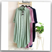 Kemeja Tunik Casual Katun Rayon Wanita / Fashion Baju Polos Cewek