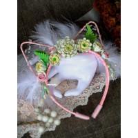Bando Kuping Kucing Pink Floral Anak Dewasa Cat Ear Headband
