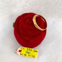 CC552DLM cincin emas persegi permata putih emas kuning asli simple new