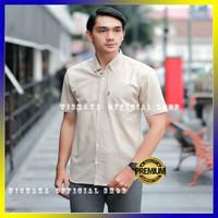 Kemeja Pria Lengan Pendek Cowok Baju Cream Hem Krem Murah Grosir Top - Cream, M