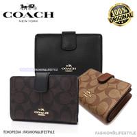 Coach Wallet Medium Corner Zip WALLET IN SIGNATURE Coach Original 100% - Mahogany
