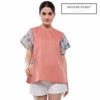 Baju Kerja WFH Batik Casual Madame Rabbit Warna Biru Pink Katun Halus - S