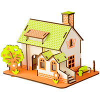 Puzzle Simulation Model - Wooden Puzzle Green Apple House - Pazel Kayu