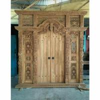 Pintu Gebyok Bahan Kayu jati Ukir Jepara Ukuran 200 x 265