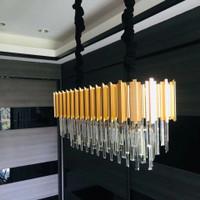 LAMPU GANTUNG MODERN GOLD KRISTAL PANJANG 90CM