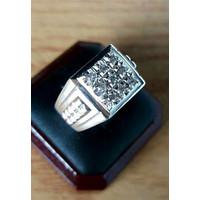 Cincin Emas Putih Berlian Eropa Asli Original 100% Natural Pria
