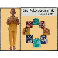 Baju Koko / Baju Muslim Anak Bordir Bahan Katun