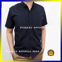 Kemeja Pria Lengan Pendek Cowok Biru Navy Blue Dongker XL Murah Grosir