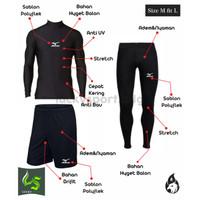 Paket Baselayer Baju Manset Celana Panjang dan Celana Olahraga Pendek