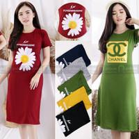 Baju Dress Wanita Korea Casual Santai Bahan Kaos Terusan Lengan Pendek - Grey, Motif Channel