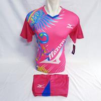Baju Olahraga Kaos Jersey Pria-Wanita Volly Sepakbola Futsal Badminton - Merah Muda, L