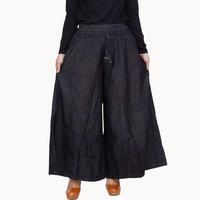 Celana Kulot Size Jumbo Berbahan Jeans Tebal dan Adem – Hitam