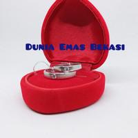 Wedding Ring Sircon Couple, Emas Putih 750,Berat 6 gram(Sepasang)