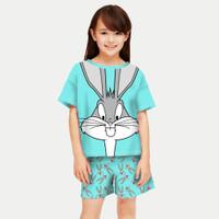 baju stelan anak perempuan / setelan anak perempuan terlaris - BUNNY BIRU, L