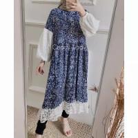 Baju Tunik Dress Wanita Busui Murah/Lehana Brokat Bunga/Gamis muslimah
