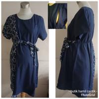 Baju tunik Dress Hamil menyusui kantor kerja hitam biru katun 8323