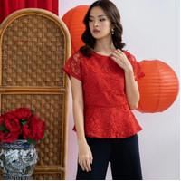 Blouse Wanita Baju Imlek Merah Wanita LIELA TOP Bahan Lace Premium