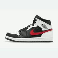 Sepatu Nike Air Jordan 1 Mid Black White Red Original BNIB