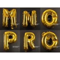 Dekorasi Pesta - Balon Foil Gambar Huruf uk. 40cm - Gold Huruf M-Z