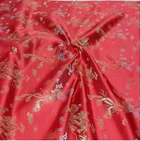 kain cheongsam bahan dress imlek/motif sakura,bunga,naga,koin,bambu