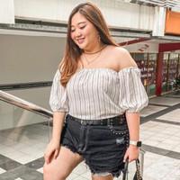 Atasan Blouse Stripes Sabrina Off Shoulder Casual Top JUMBO HB