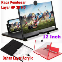Kaca Pembesar Layar Smartphone 3D HD Ukuran 12 Inch Pembesar Layar HP