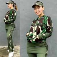 Setelan Baju Senam Aerobic Zumba Muslim Hijab Olahraga Army Rok Hijau