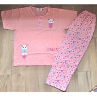 Baby doll Stelan Piyama Anne Claire tangan pendek celana panjang 2L - Pink panda