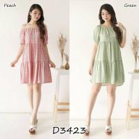 Mini Dress Sabrina Wanita Rayon Motif Kotak Lengan Pendek D3423