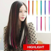 Hair Extension HLP HL WARNA POLOS clip on 55cm Hair Clip Warna Highlig