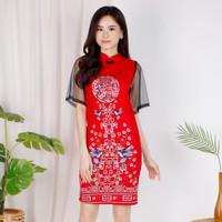 Dress chongsam putih / gaun congsam merah / dress cheongsam hitam mura