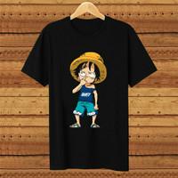 Baju Kaos Distro Anime One Piece Hitam Pria/ wanita Cotton