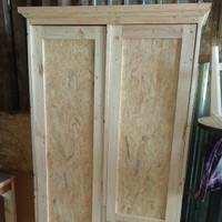lemari pakaian baju anak tatal kayu jati belanda minimalis